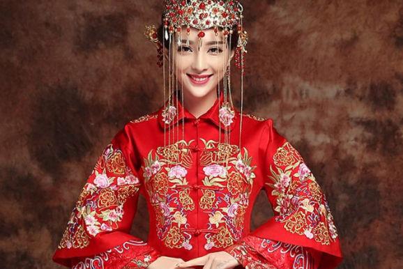 旗袍新娘发型图片