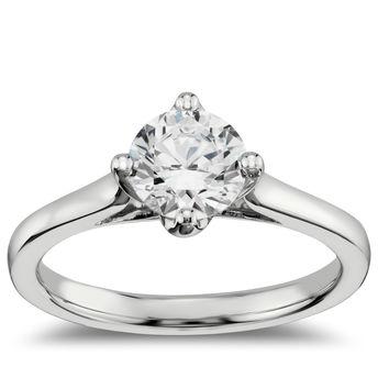 横向单石订婚戒指 14k 白金