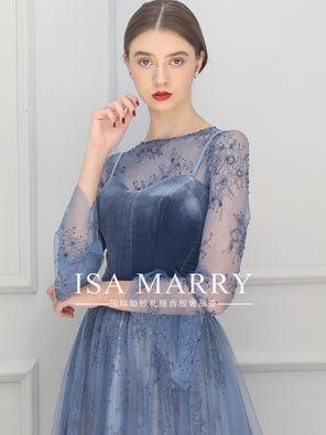 蓝色优雅晚礼服