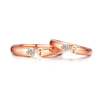珂兰钻石:白18K金钻石对戒天生一对系列情侣男女钻戒指-巴黎恋人